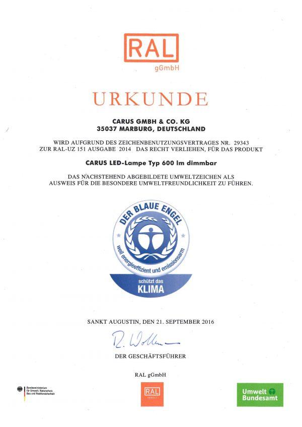Blauer Engel Urkunde Carus deutsch