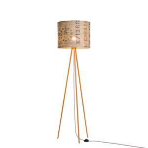 Stehleuchte Tripod-Perlbohne N°15 aus Stahl und Kaffeesack