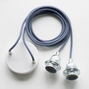 Armatur für zwei Lampen mit nur einem Deckenanschluss blau