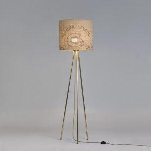 Stehleuchte Tripod Perlbohne N°72 aus Bronze und Kaffeesack