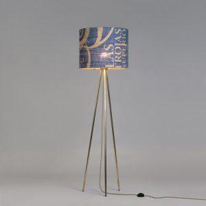 Stehleuchte Tripod Perlbohne N°11 aus Bronze und Kaffeesack