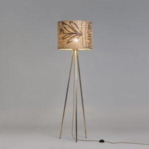 Stehleuchte Tripod Perlbohne N°73 aus Bronze und Kaffeesack
