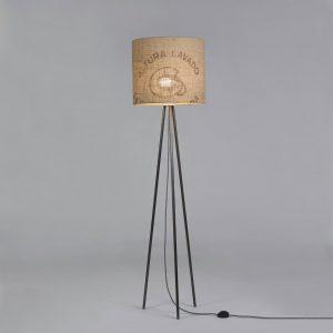 Stehleuchte Tripod-Perlbohne N°12 aus Stahl und Kaffeesack
